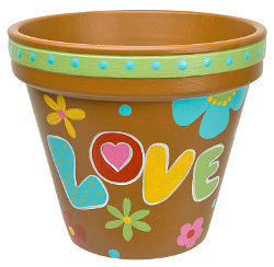 Painted Hippy Clay Pot