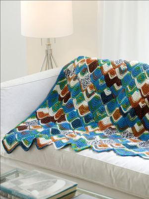 Brightly Colored Tunisian Throw