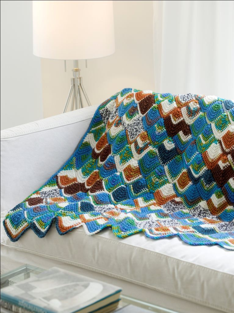 Brightly Colored Tunisian Throw Favecrafts Com