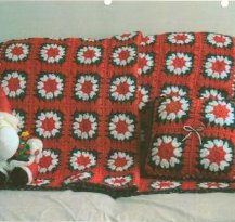 Christmas Granny Squares Afghan and Pillow Set ...