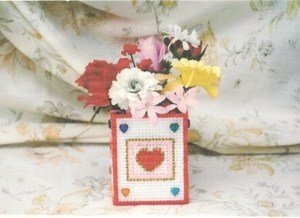 Hearts Plastic Canvas Flower Box