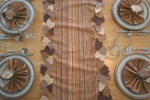 Fall Leaf Table Runner and Napkin Rings