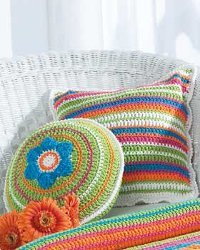 Striped Crochet Patio Pillows