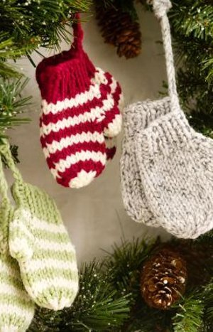 fb767a8a1fa75 Knit Mitten Ornaments. Make this free knitting pattern ...