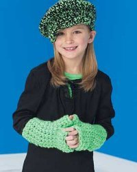 Kids Chunky Newsboy Cap and Fingerless Gloves