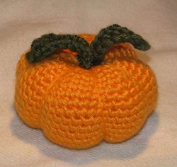 Orange Pumpkin Crocheted Pincushion