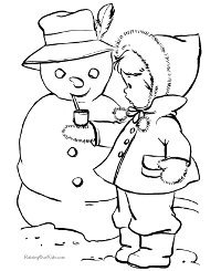 Snowman and Child Coloring Page