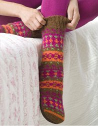 Knitted Adirondacks Slipper Socks