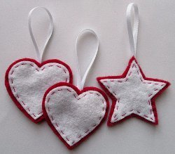 Stars & Hearts Felt Ornaments