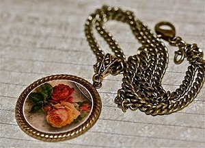 Decoupage Pendant Necklace