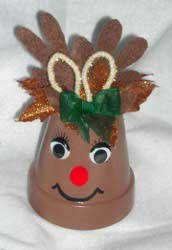 Reindeer Clay Pot Ornament