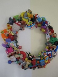 Recycled Happy Meal Toy Wreath