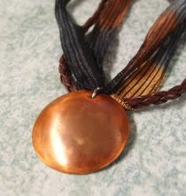Domed Copper Pendant Necklace