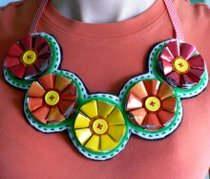 Recycled Coffee Bag Flower Necklace