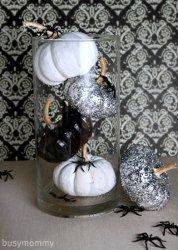 Black, White, and Glitter Pumpkin Centerpiece