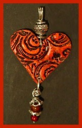 Wax Resist Earthenware Heart Pendant