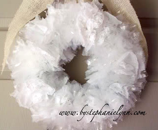 Recycled Shopping Bag Wreath