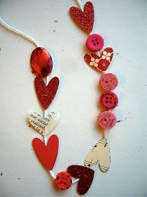 Paper Hearts and Buttons Necklace
