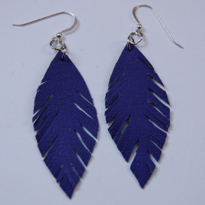 Faux Purple Leather Feather Earrings