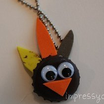 Adorable Bottle Cap Turkey Necklace