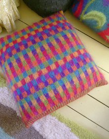 Vibrant Mohair Knit Pillow