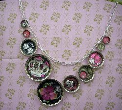 Bottle Cap Mixed Media Necklace