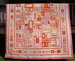 Peaches and Dreams Graphic Quilt