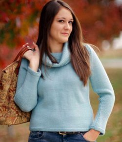 Simple Knit Cowl Neck Sweater