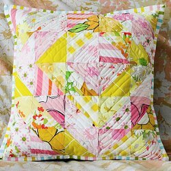 Vintage Sheet Half Square Triangle Pillow