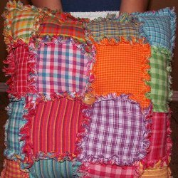 Homespun Patchwork Rag Pillow