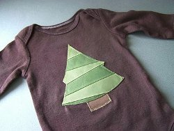 Snowflake and Christmas Tree Applique Onesie