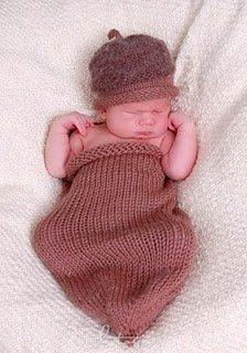 Acorn Swaddle Sac and Cap