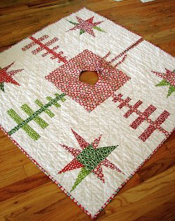 Evergreens and Stars Quilted Tree Skirt