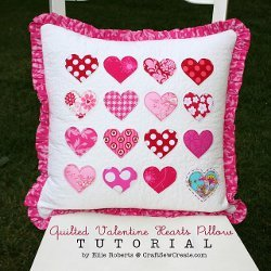 Quilted Valentine Hearts Pillow