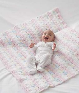 Pipsqueak Pink and White Blanket