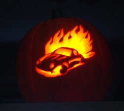 Flaming Porsche Pumpkin Carving Pattern