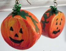 Bottle Cap Pumpkin Earrings