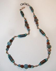 Copper Beads with Patina Necklace
