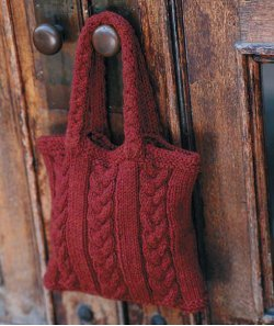 Purse Knitting Patterns For Beginners : Cabled Bag AllFreeKnitting.com