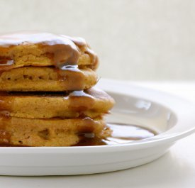 Whole Wheat Pumpkin Walnut Pancakes with Cinnamon Syrup