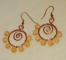 Wire Spiral Bead Earrings