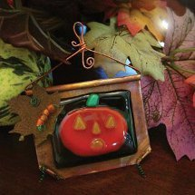 Spooky Glass Pumpkin Pendant