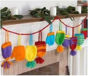 Bright Knit Hats and Mittens Holiday Decorations