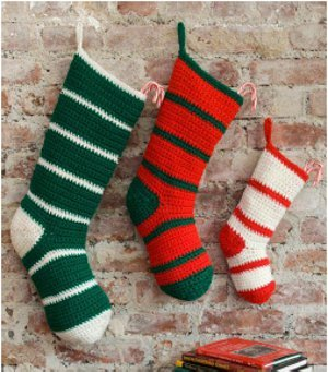 Simple Striped Crochet Santa Stockings