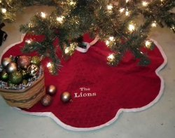 Quilted Velvet Christmas Tree Skirt with Video Tutorial