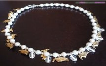 Silver Gold and Pearl Holiday Dove Necklace
