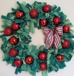 Upcycled Holiday Tee Shirt Wreath