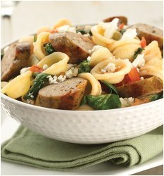 ImageOrecchiette with Sundried Tomato Chicken Sausage and Spinach