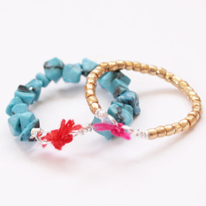 Cute Stackable Beaded Wire Rings