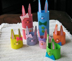 Colorful Rabbits from Cardboard Tubes